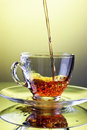 Tea Pouring Into Glass Cup Royalty Free Stock Photography - 29316547