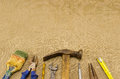 Different Retro Construction Work Tools On Linen Royalty Free Stock Photo - 29343075