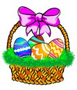 Easter Basket With A Pink Bow Royalty Free Stock Images - 29351899