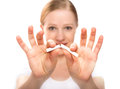 Woman Breaking Cigarette. Concept Stop Smoking Stock Photo - 29354280