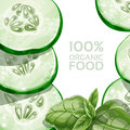 Background With Green Cucumber And Basil Stock Photos - 29365813