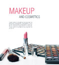 Colorful Eyeshadows, Lipstick And Makeup Brushes Stock Photography - 29366812