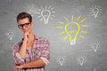 Young Man With Glasses Having Many Ideas Stock Photos - 29374583