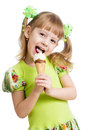 Happy Kid Girl Eating Ice Cream Isolated Royalty Free Stock Images - 29381529