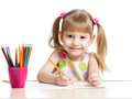 Kid Drawing With Colourful Pencils Stock Photography - 29381562