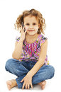Cute Little Girl Is Talking On Cell Phone Royalty Free Stock Photography - 29385447