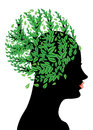 Girl Head With Green Leaves Royalty Free Stock Photo - 29393175