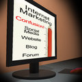 Internet Marketing On Monitor Showing Emarketing Confusion Stock Images - 29397544