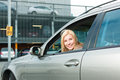 Woman Back Her Car On A Parking Level Royalty Free Stock Photos - 29397948