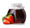 Strawberry Jam With Ripe Strawberries  On White Royalty Free Stock Images - 29412669