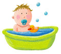 Baby Bath With A Yellow Rubber Duck Stock Image - 29427431
