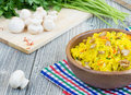 Rice With Saffron And Champignons Royalty Free Stock Photos - 29442418