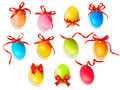 Decorative Easter Eggs.Easter Cards With Red Bow A Stock Photo - 29452320