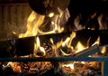 Pine Cones Burning In The Fire Place Stock Image - 29455671