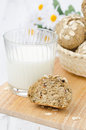 Bread Rolls Wholemeal With Oat Flakes And A Glass Of Milk Royalty Free Stock Images - 29460159