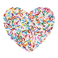 Colorful Candy Sprinkles Heart Isolated On White Background Stock Photography - 29475072