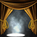 Stage With Gold Curatins And Spotlights Royalty Free Stock Photography - 29496947