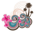 Retro Waves And Pink Hibiscus Stock Images - 2950404