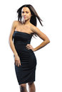 Elegant Pretty Woman Smiling And Posing In Black Dress Over Whit Royalty Free Stock Image - 29500156
