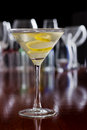Dirty Martini With A Lemon Twist Royalty Free Stock Images - 29506399