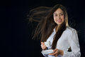 Beautiful Woman Holding Cup Of Coffee Stock Photos - 29506813