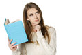 Thinking Woman With Opened Book Looking To The Side Royalty Free Stock Images - 29518489