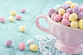 Small Easter Eggs In A Pink Cup Stock Photography - 29528642