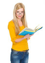Student Girl In Glasses Reading Book Royalty Free Stock Photography - 29541057