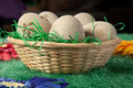 Five Eggs In A Basket On Green Fake Grass Stock Image - 29568501