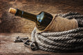 Bottle Of Wine Wrapped With Rope Royalty Free Stock Photos - 29580998