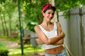 Pin-up Girl. American Style, In A Garden Stock Photography - 29581642