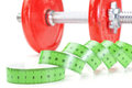 Green Measuring Meter And Dumbbells For Fitness. Royalty Free Stock Photo - 29586625