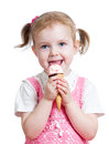 Happy Kid Girl Eating Ice Cream In Studio Isolated Royalty Free Stock Images - 29592809