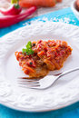 Fish In Greek Kind With Vegetables And Tomato Sauce Royalty Free Stock Photos - 29600828
