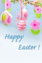 Easter Greetings With Hanging Eggs And Felt Flowers Royalty Free Stock Image - 29609696