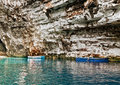 Boats In Cave Stock Image - 29611581