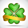 Clover Leaf & Gold Ribbon Royalty Free Stock Photos - 29632728