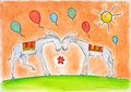 Happy Donkeys With Balloons, Childs Drawing, Water Royalty Free Stock Photos - 29650508