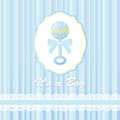 Baby Shower Card For Baby Boy, With Rattle Stock Photo - 29683990