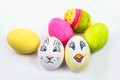 Six Easter Eggs In Different Colors And Designs Royalty Free Stock Images - 29686539