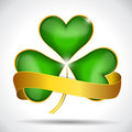 Clover Leaf & Gold Ribbon Royalty Free Stock Photography - 29692957