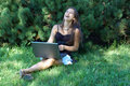 Laughing Girl With Laptop Stock Images - 2976904