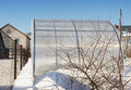 A Small Greenhouse Is Made ​​of Polycarbonate Winter Stock Image - 29710701