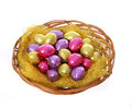 Colorful Chocolate Easter Eggs In Basket Isolated Royalty Free Stock Image - 29722656