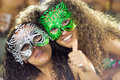 RIO DE JANEIRO - FEBRUARY 10: Two Girls In Masks In Stands On Ca Royalty Free Stock Image - 29729606