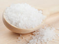 Sea Salt In Wooden Spoon Royalty Free Stock Photo - 29739805