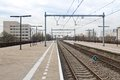 Platform Railway Station Of Dutch City Almere Stock Photography - 29741132