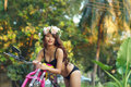 Young Sexy Asian Woman In Black Lingerie On Pink Motorcycle Royalty Free Stock Photo - 29749305