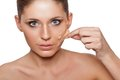 Woman Taking Off Her Skin From Face Royalty Free Stock Photos - 29752078