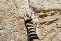 Phylacteries Wrapped Hand On The Western Wall Royalty Free Stock Image - 29761686